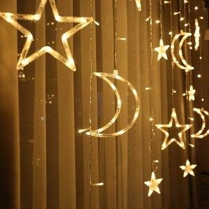 Image 2 - 220V Batterij Fee Ster Led Gordijn String Wedding Lights Garland Holiday Party Bruiloft Decoratie Fairy Led Vakantie