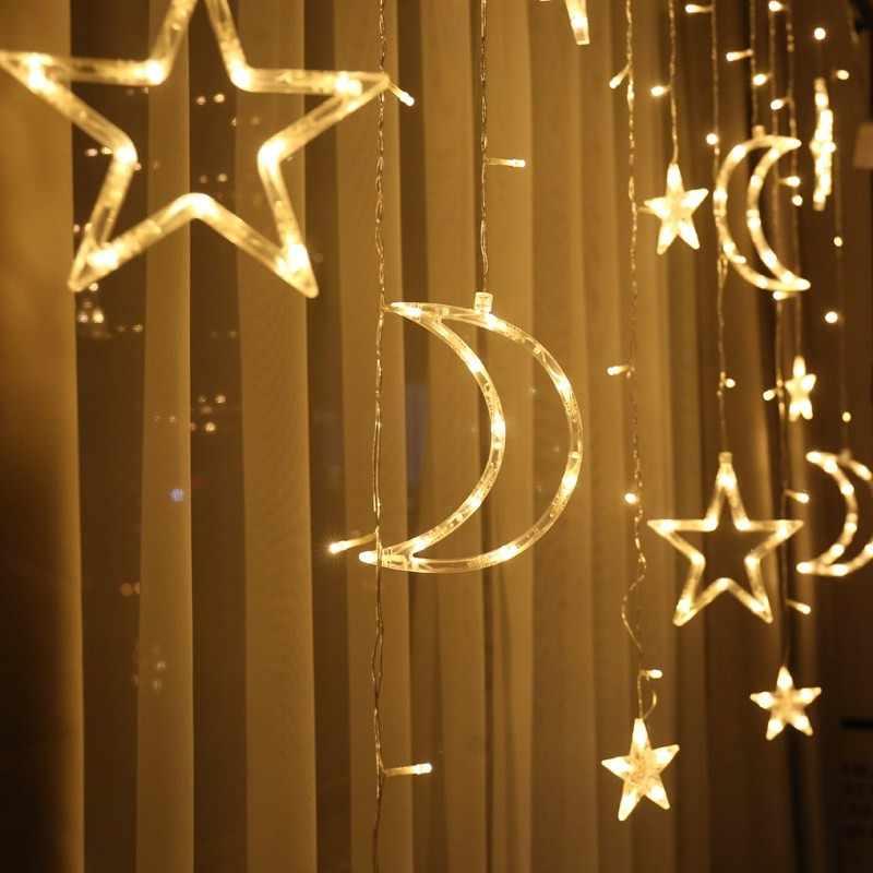 Trăng Sao Đèn Led Dây Ins Giáng Sinh Trang Trí Ngày Lễ Đèn Màn Đèn Cưới Neon Đèn Lồng 220 V Cổ Tích ánh Sáng