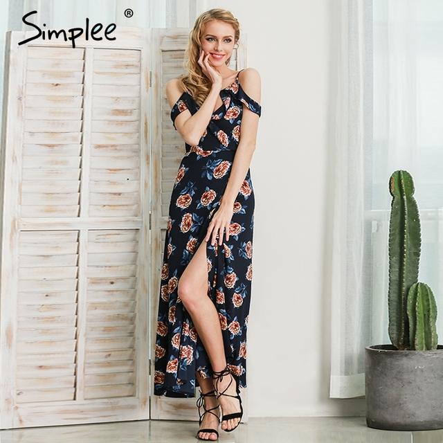 Simplee White floral print ruffle chiffon long dress Women strap v neck  maxi dresses Sexy beach summer dress backless vestidos