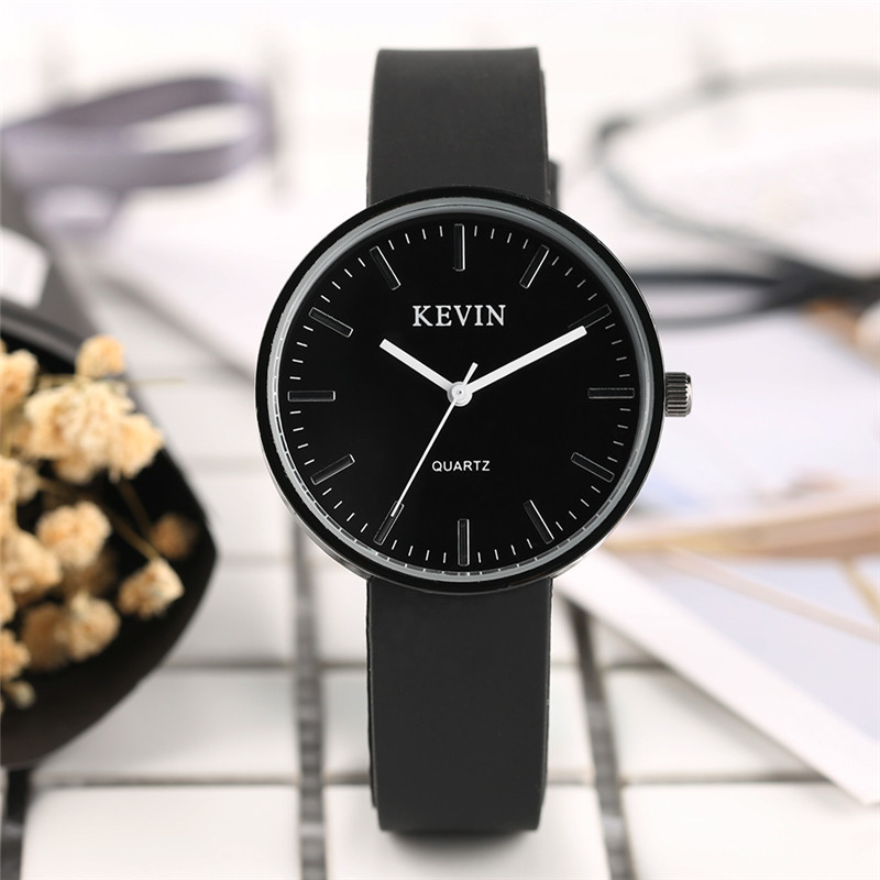 KEVIN Minimalist Green Black White Clock Classic Women Fashion Analog Modern Quartz Sport Wrist Watch Round Dial Silicone Strap kevin black red white leather strap women watches modern quartz ladies watch fashion simple arabic numerals dial clock 2018 new