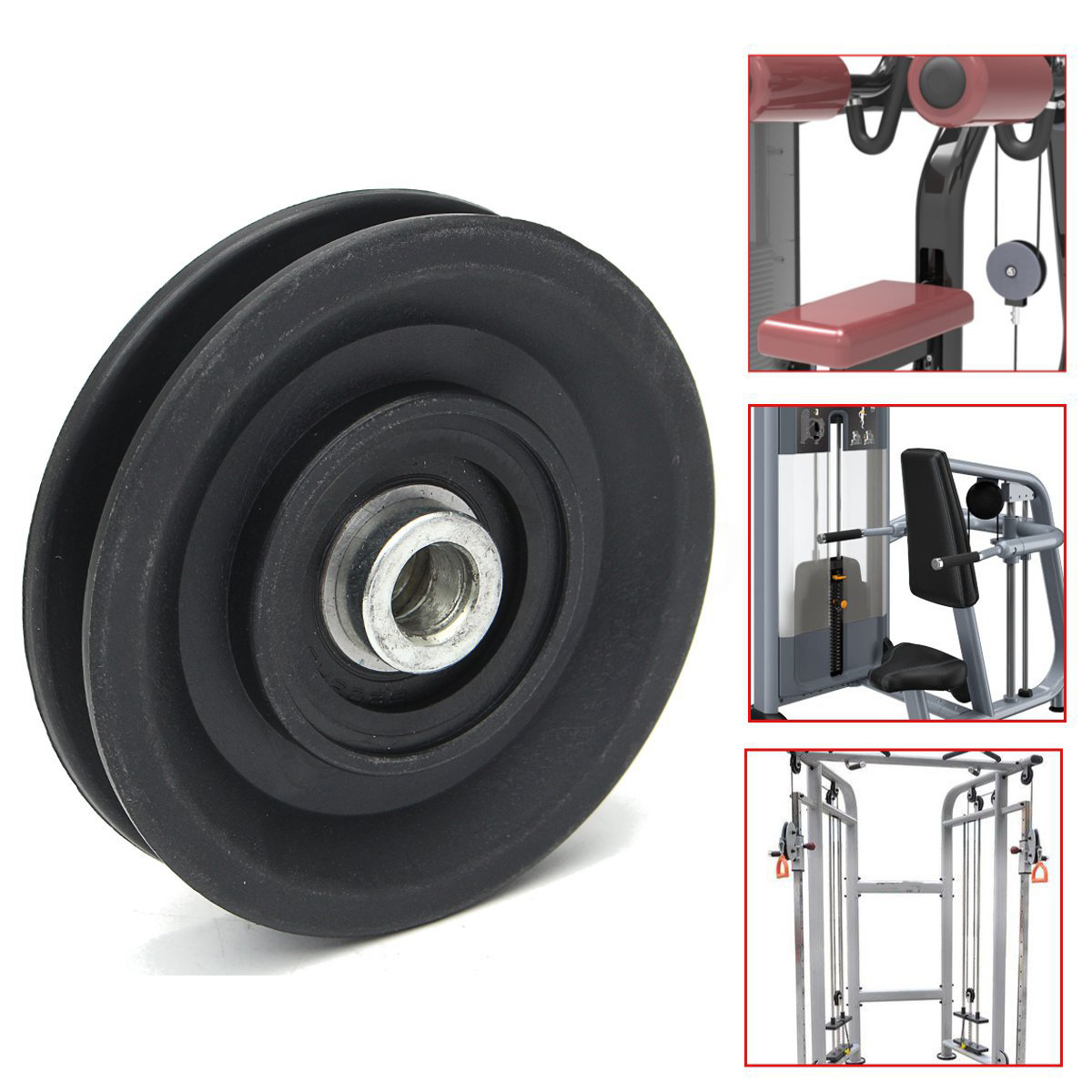 MAYITR High Quality Bearing Pulley 90mm Wearproof Nylon Bearing Pulley Wheel Cable Gym U ...