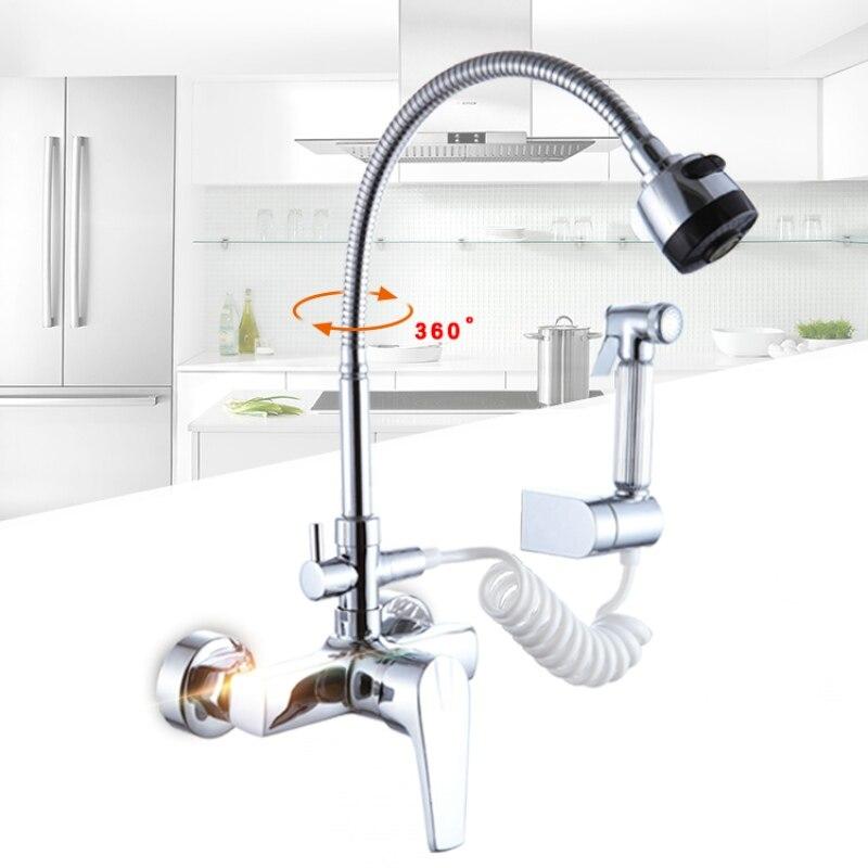 Becola mur monté cuisine robinet d'eau Froide et chaude évier mitigeur 360 pivotant mélangeur de cuisine B-9101-5