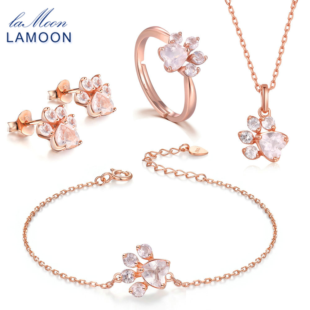 LAMOON Bear's Paw Sterling Silver 925 Jewelry Sets Gemstone Rose Quartz S925 18K Rose Gold Plated Fine Jewelry For Women V035-1