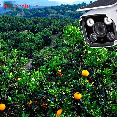 Solar powered camera hd night vision wireless network outdoor monitor set fish pond on orchard hill