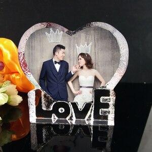 Image 2 - 개인화 된 사용자 정의 크리스탈 유리 심장 빙산 사진 액자 엄마 아내를위한 최고의 선물 생일 결혼 기념일 기념품