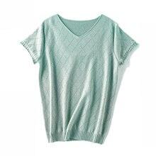 Летние новые женские трикотажные пуловеры с v-образным вырезом повседневные льняные свитера с коротким рукавом темпераментные тонкие свитера женские