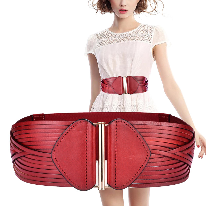 Wide Belt For Women Vintage Fashion Genuine Leather Elastic Waistband Female Red Black Accessories Slimming Belt Ceinture Femme