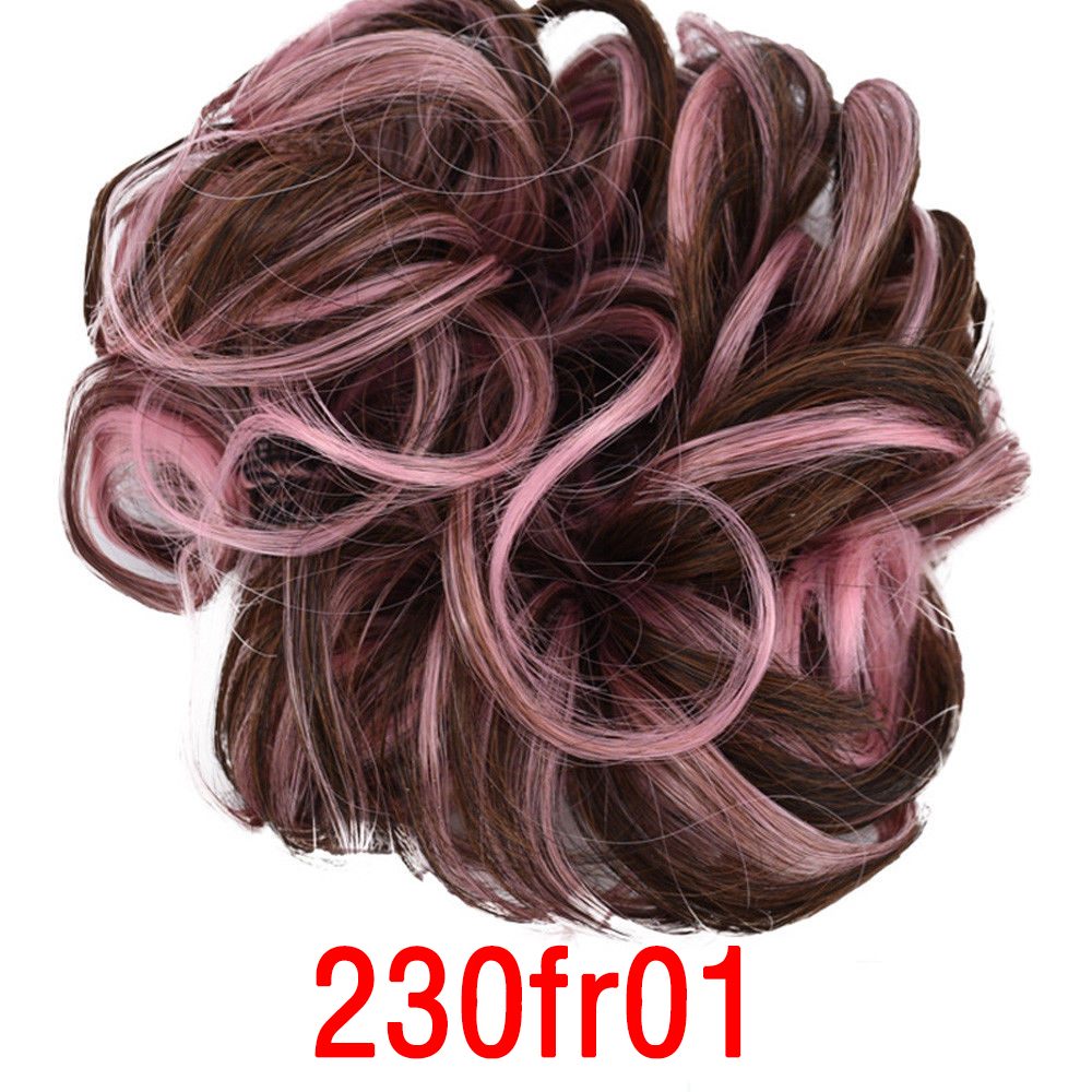 Curly Messy Bun Hair Piece Scrunchie Cover Hair Extensions Real Human Wig Hair Women   Headwear