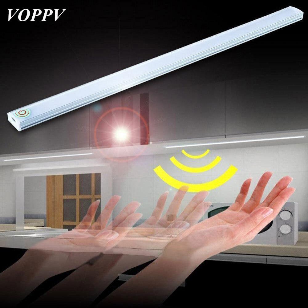 VOPPV LED Usb Under Cabinet Light Touch Sensor Light for Closet/Cupboard/Wardrobe/Cabinet ABS LED Kitchen Lamps Bedroom Lights