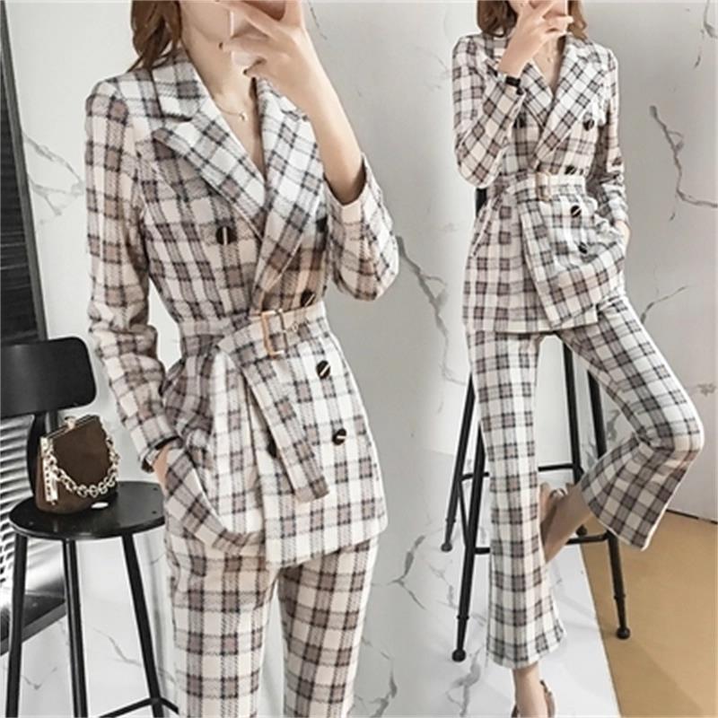 Fashion plaid small suit suit female autumn and winter New plus size High end temperament suit two piece pants crop top xxl