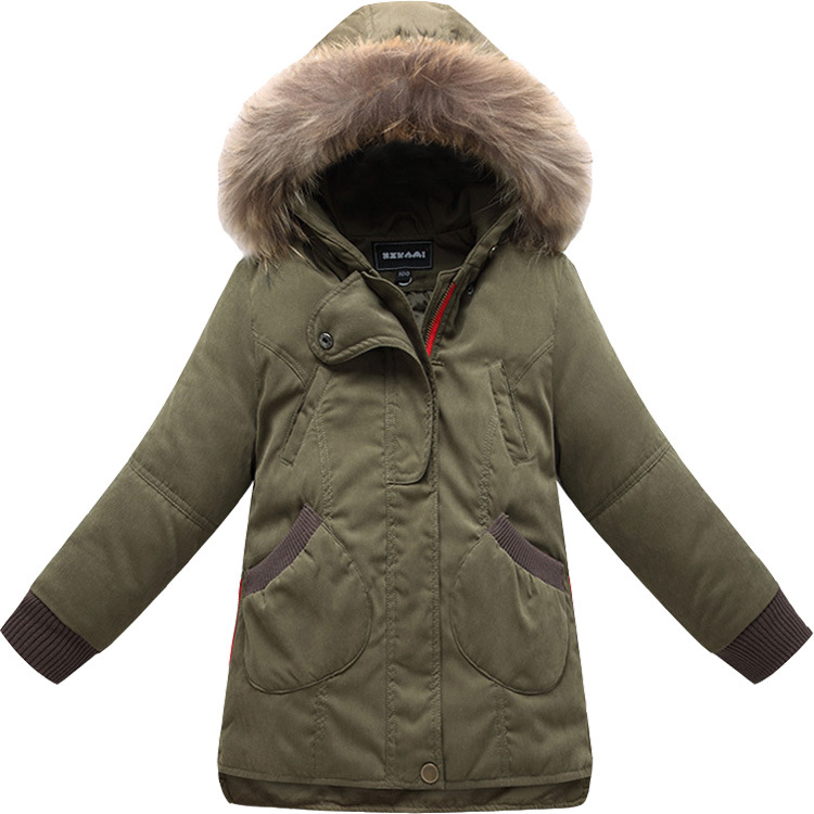 2017 New Winter Girls Down Coat Kids Warm Parkas Coats Children Down Jacket Girl Thick Fur Collar Coat Hooded For Girs 3-10Y 2017 new baby girls boys winter coats jacket children down outerwear warm thick outdoor kids fur collar snow proof coat parkas