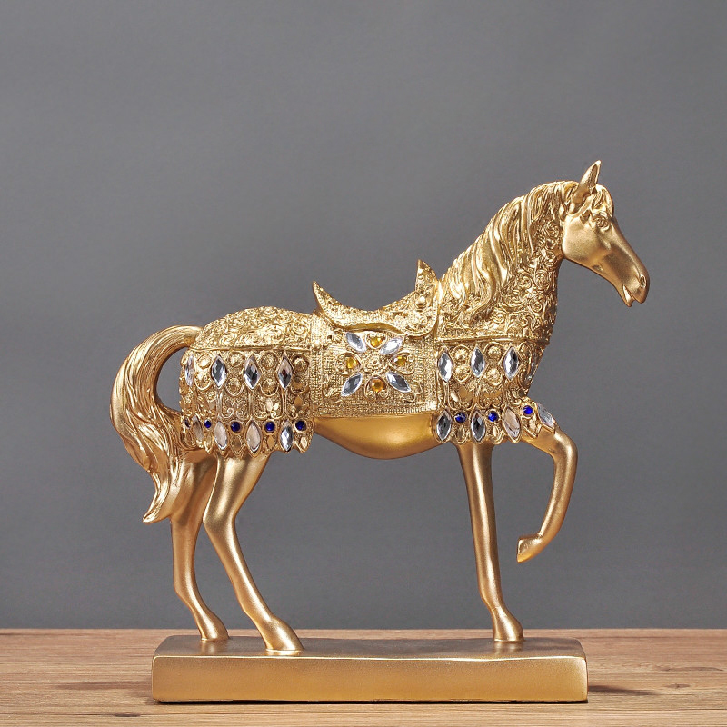 Creative Handmade Resin Gold Plated Platinum Animal Horse Decor Home Wine Cabinet Decoration Crafts Figurines for Birthday Gifts