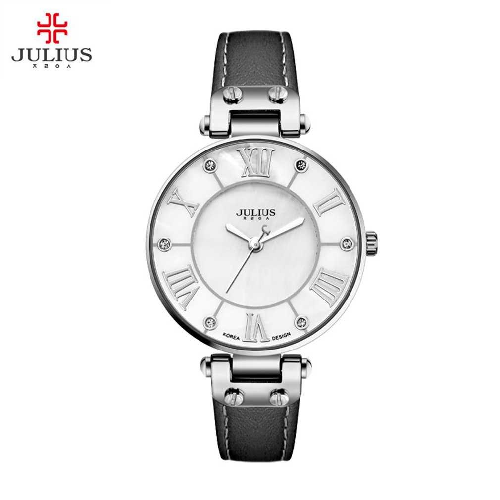 JULIUS Ultra Thin Women Quartz Watch Waterproof Leather Wristwatches Luxury Gifts for Grils with Watch Box Relogio JA-832