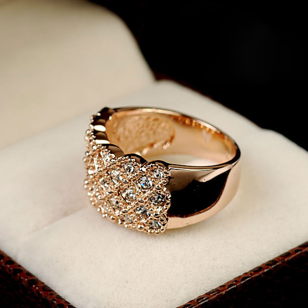 wedding Rings for women with  Rose Gold color Crystals engagement rings female 1