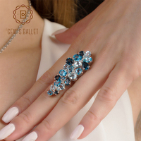 GEM S BALLET Natural London Blue Topaz Rings Genuine 925 Sterling Silver Luxury Fine Costume Jewelry