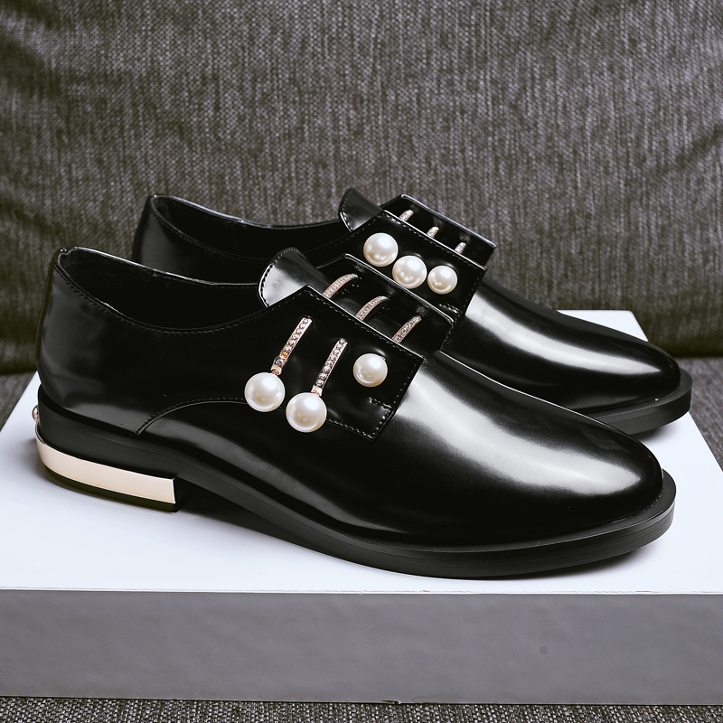 Brand New British Style Flat Shoes Women Pearl Round Toe Low Heel Casual Leather Shoes Spring Fashion Oxfords Shoes Size 33-43 new 2015 autumn flat t strap oxford shoes for women vintage british style round toe low thick heels women oxfords shoes woman