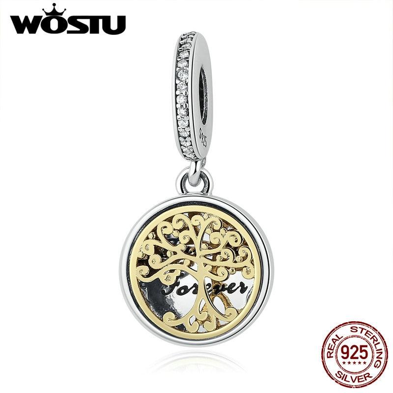 Prix pour 925 Sterling Silver & Gold Couleur Famille Racines Charme Balancent Perles Fit Pandora Bracelet Original Authentique BRICOLAGE Bijoux CRC060