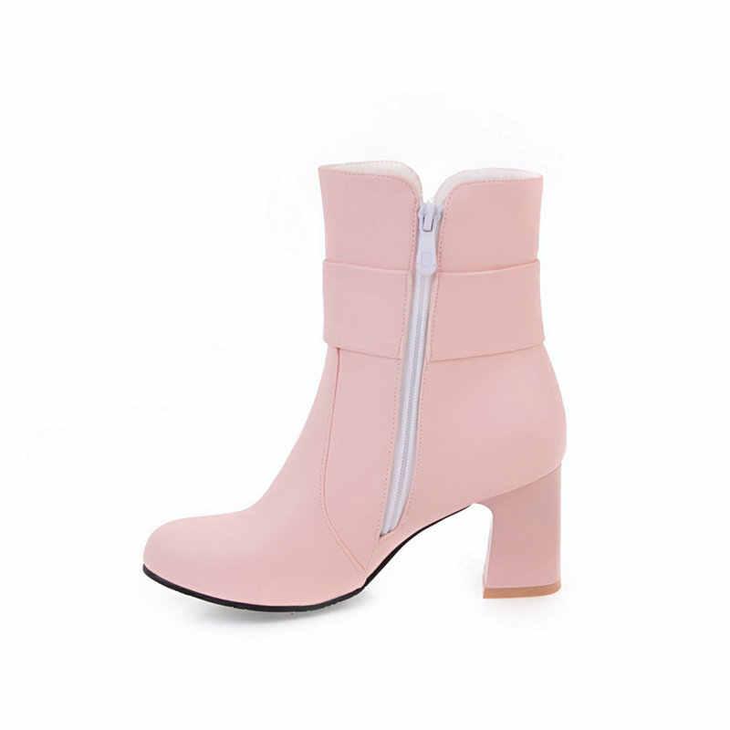 Kadın rahat kalın topuk yarım çizmeler moda toka fermuar çizmeler kadın yuvarlak ayak sonbahar kış ayakkabı siyah beyaz pembe
