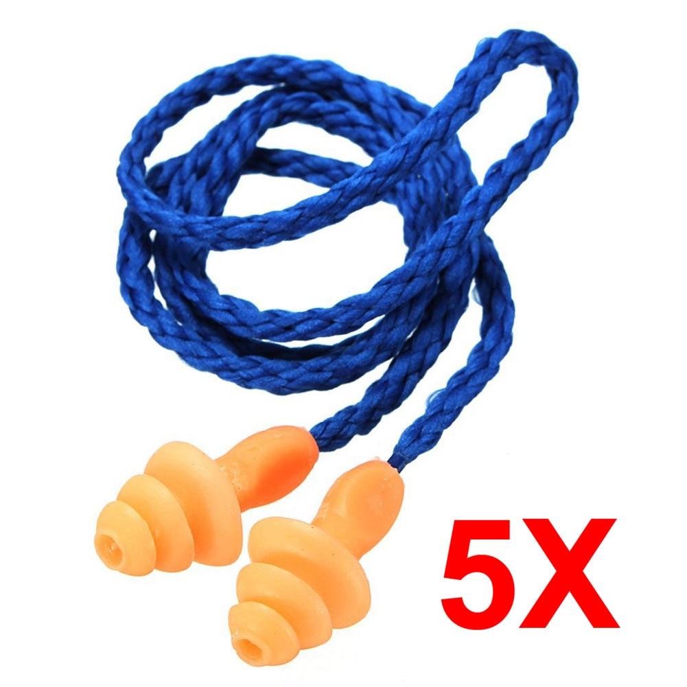 цена 5Pcs Authentic Soft Silicone Corded Ear Plugs Noise Reduction Christmas Tree Earplugs Protective Earmuffs SN-Hot