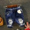 Новый мальчик джинсы рваные джинсы для детей широкий короткие мальчики и девочки жан гарсон джинсы 6J021