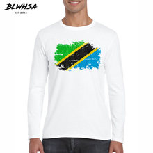 BLWHSA Autumn Men T-shirt Cotton Tanzania Flag Print Long Sleeves Men Fashion O-neck T Shirt White Tanzanian Camisetas(China)