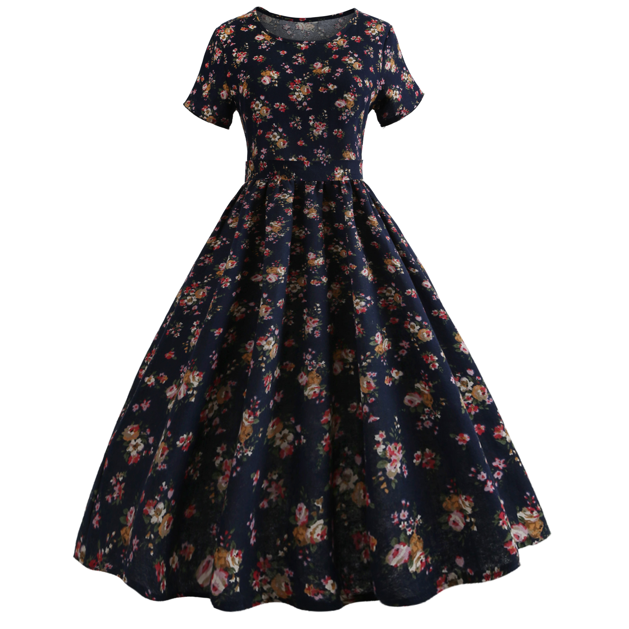 951dc66f413 2018 New Cotton Linen Summer Dresses for Women Vintage 50s 60s Robe Retro  Pin Up Rockabilly Elegant Casual Party Red Midi Dress