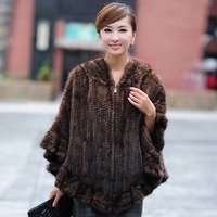 2012 Free Shipping Real Knitting Mink Fur Wraps Stole With Hoody And Pockets