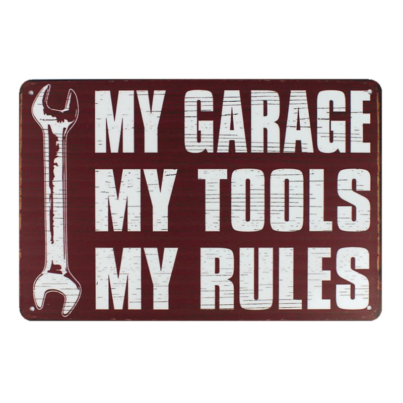 [ Kelly66 ] MY GARAGE MY TOOLS MY RULES Metal Sign Vintage Metal Plaque Bar art Wall Painting Craft 20*30 CM Size D-176