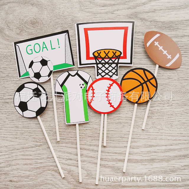 Rugby Games Basketball American Football Vollyball Cupcake Topper Boy Birthday Party Cake Decoration