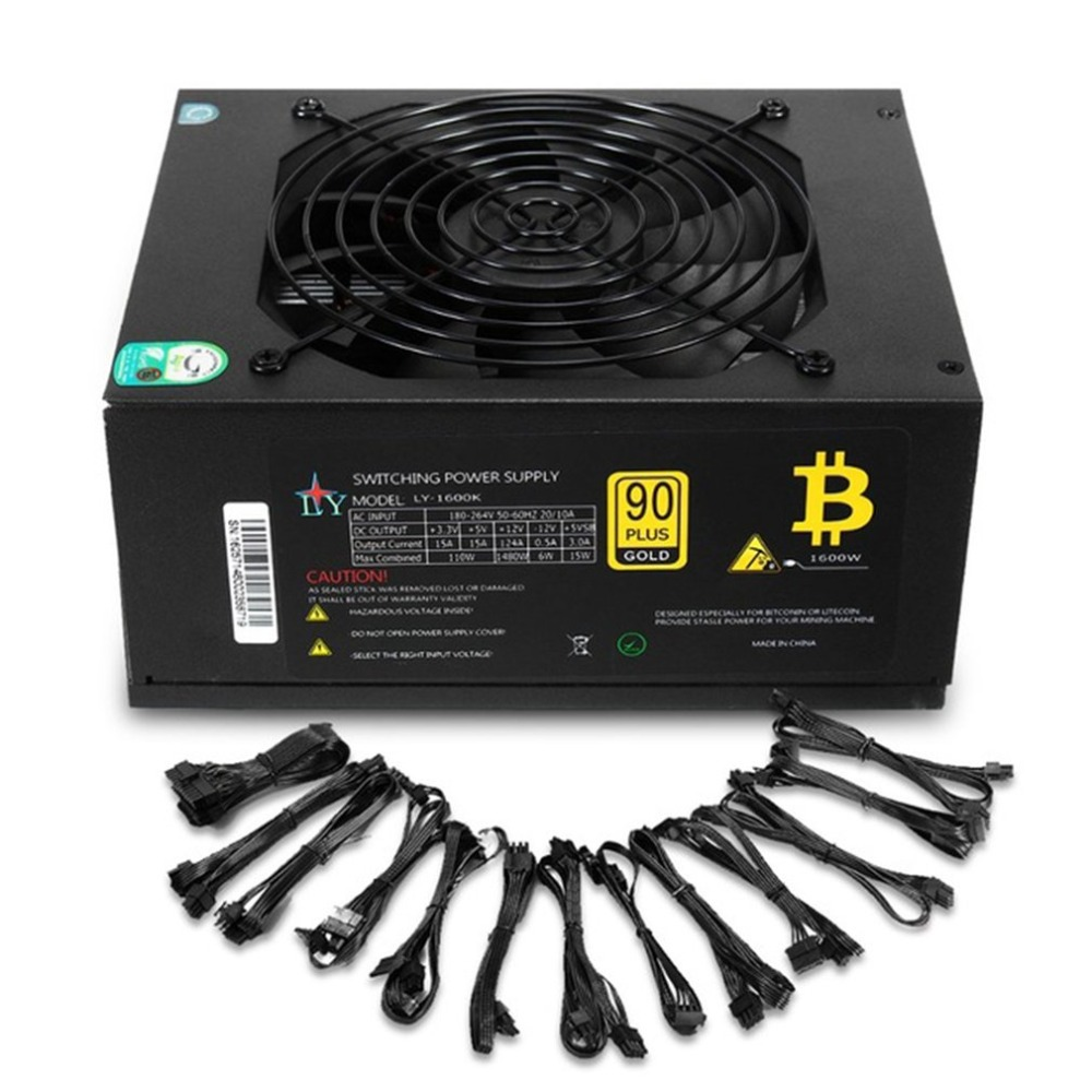 90 Plus Efficiency 1600W Modular PC Power Supply 12V 24PIN 8PIN For Miner Mining High Quality Computer Power Supply For BTC цены