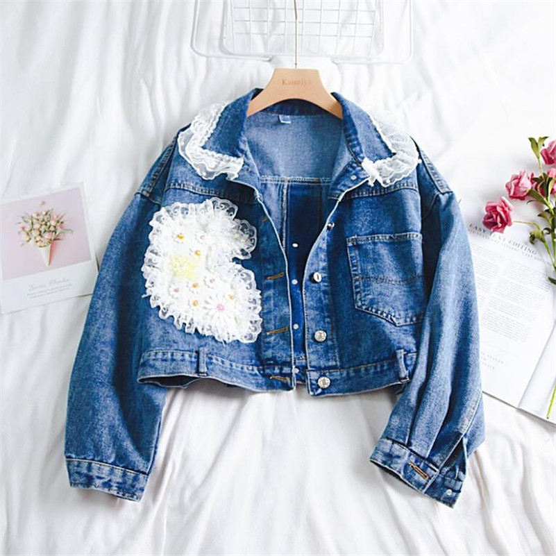 2019 spring fashion Korean fashion sweet style lace bead short denim   jacket   female loose   basic     jacket   r963