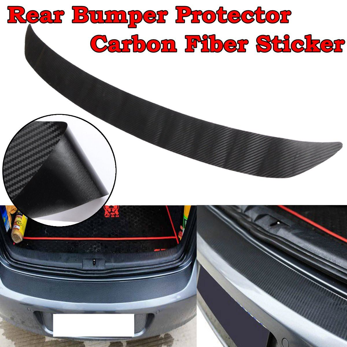 Universal Black Carbon Fiber Door Side bumper stickers strip scuff plate trim