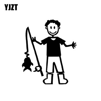 YJZT 11.9cm*14cm Cartoon MAN WITH FISHING ROD Funny Vinyl High-quality Decor Decals Car Sticker Black Silver C11-0185 image