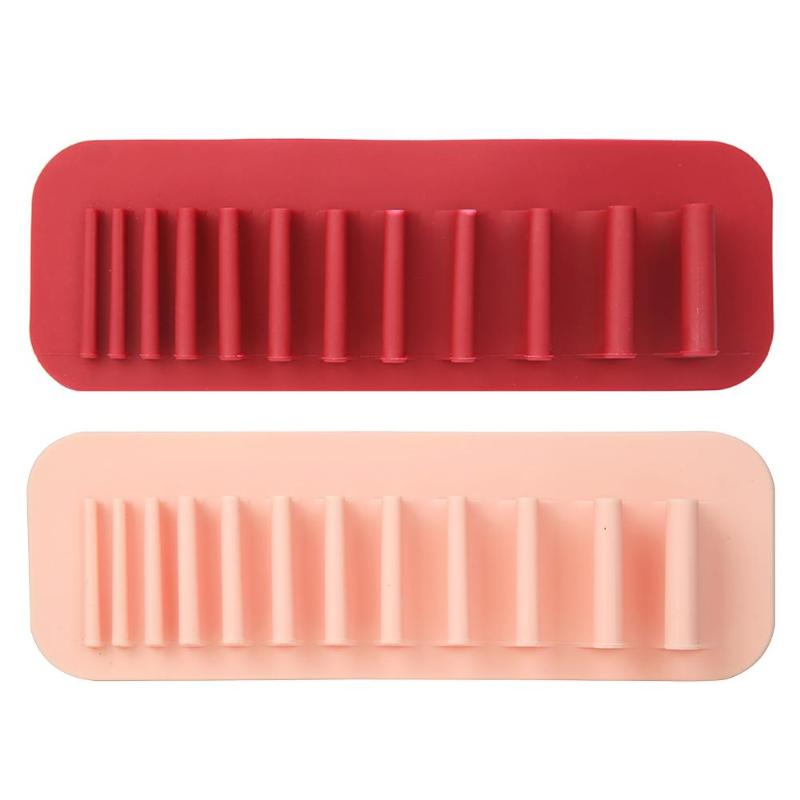 Makeup Brush Holder Toothbrush Make Up Display Rack Stand Storage Organizer Suction Wall Type Silicone Porous Position Design