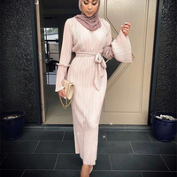 Muslim Wrinkled Pencil Skirt Pliss Maxi Dress Trumpet Sleeve Abaya Long Robes Tunic Middle East Ramadan