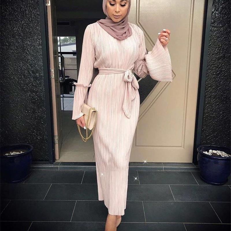 Muslim Wrinkled Pencil Skirt Pliss Maxi Dress Trumpet Sleeve Abaya Long Robes Tunic Midd ...