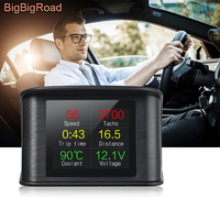 BigBigRoad For Mercedes Benz B GLS GL Class W246 X166 Car Hud OBDII Computer Windscreen Projector Head Up Display Speed Warning