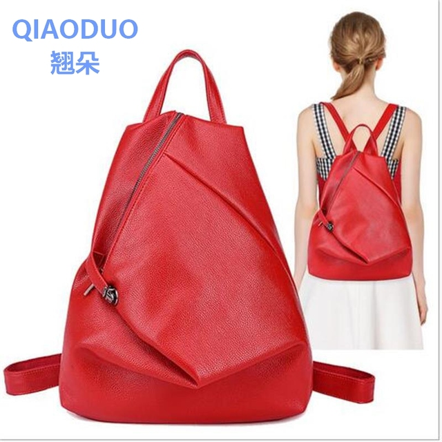 99fa552c29d QIAODUO High Quality leather women backpack Fashion Side Zipper backpacks  for teenage girls black casual travel school bag-in Backpacks from Luggage  & ...