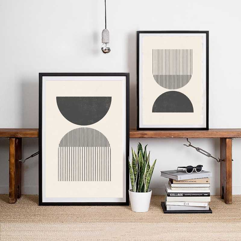 Mid century Style Woodblock Posters Print In Classic Geometric Shapes & Neutral Colors Canvas Painting Wall Picture Home Decor