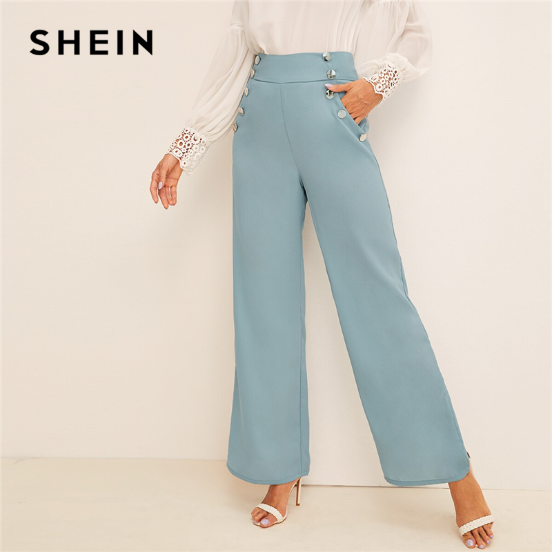 SHEIN Button Detail   Wide   Band Waist   Wide     Leg     Pants   2019 Blue Vintage Solid Elastic Waist Loose   Pants   High Waist Women Trousers