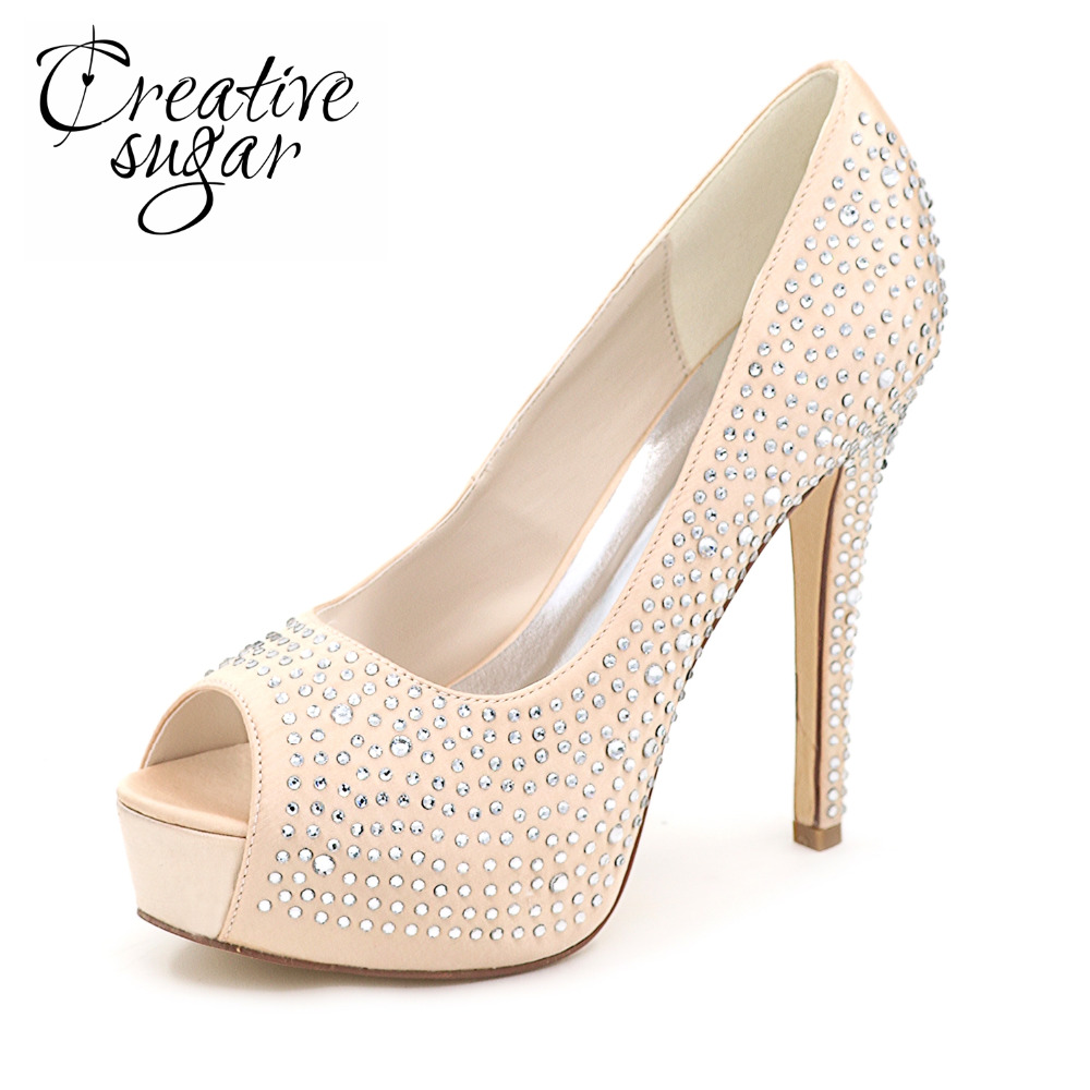 Creativesugar Lady platform high heel rhinestone diamond  bridal wedding party banquet evening dress shoes open toe champagne 2015 dazzing 4cm low heel handmade lady wedding dress shoes bridal shoes diamond woman spring evening prom party dress shoes