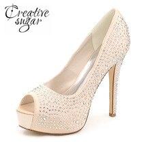 Creativesugar Señora alto talón de la plataforma del diamante del rhinestone nupcial champagne vestido de noche del banquete del banquete de boda zapatos de punta abierta
