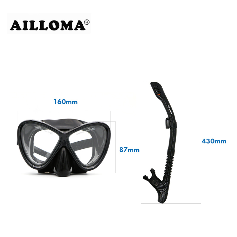 AILLOMA 스쿠버 다이빙 마스크 세트 실리콘 장비 풀 - 수상 스포츠 - 사진 4