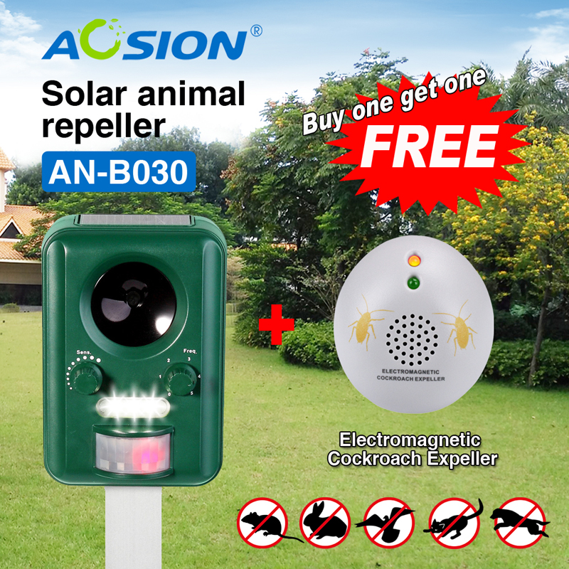 Free ShippingBuy AOSION Solar ultrasonic animal Birds Dogs Cats Repeller Repellent Got Cockroach repeller with GS