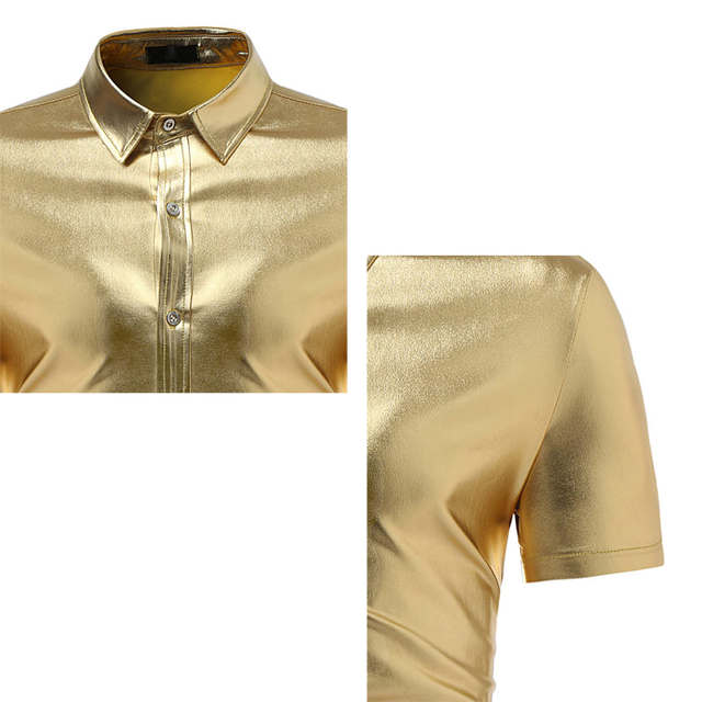 size 40 6b237 c11b3 Camicia Uomo Oro Camicia Camicia Lucido Oro Uomo Camicia ...