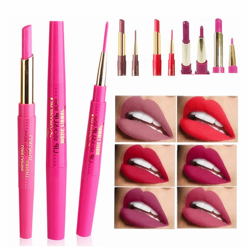 12 Colors Double-end Matte Lipstick Waterproof