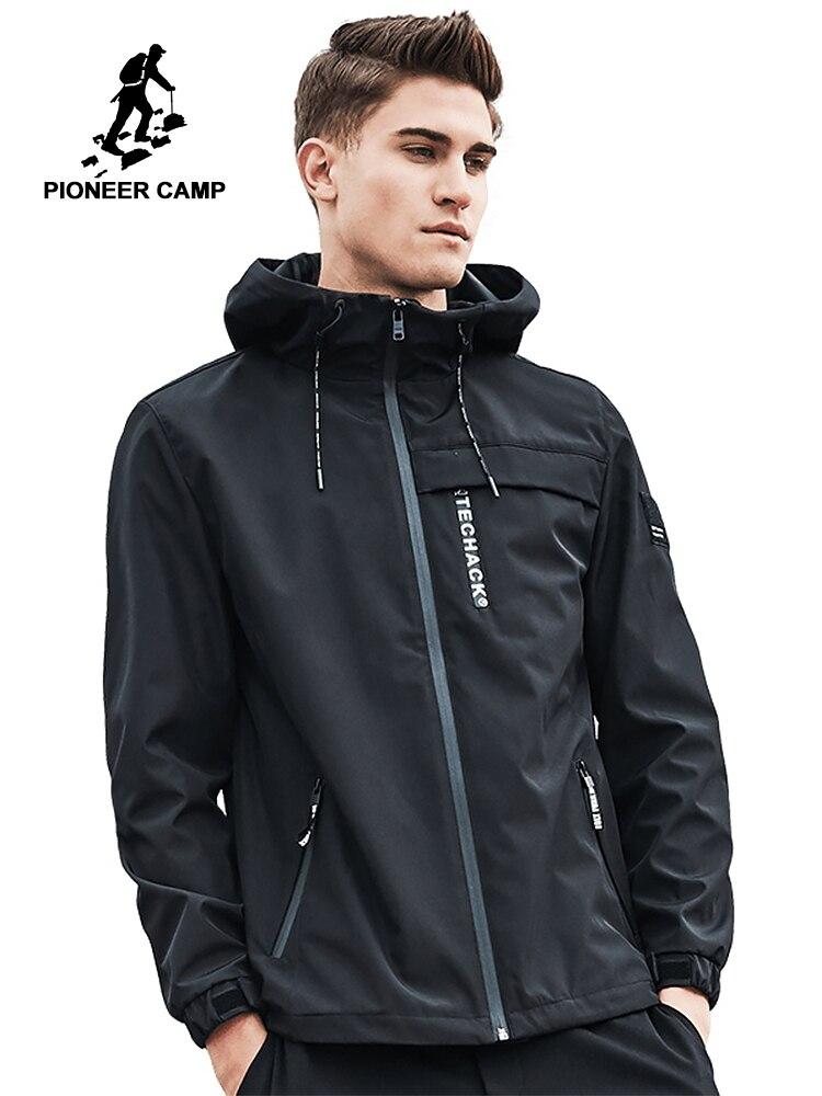 Pioneer Campo cappotto del rivestimento degli uomini di marca di abbigliamento giacca con cappuccio del cappotto maschile di alta qualità outwear casual per uomo nero-in Giacche da Abbigliamento da uomo su  Gruppo 1
