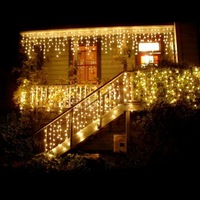 Guirnalda de Navidad  cortina LED  guirnalda de luces tipo cortina  220 V  3 5 m  96 ledes  gota interior  LED  fiesta  jardín  escenario  luz decorativa al aire libre|Cadenas de iluminación| |  -
