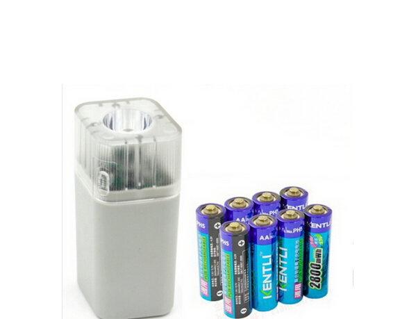 KENTLI 8pcs 1 5v 3000mWh Li polymer r lithium rechargeable AA battery 4 slots Charger w