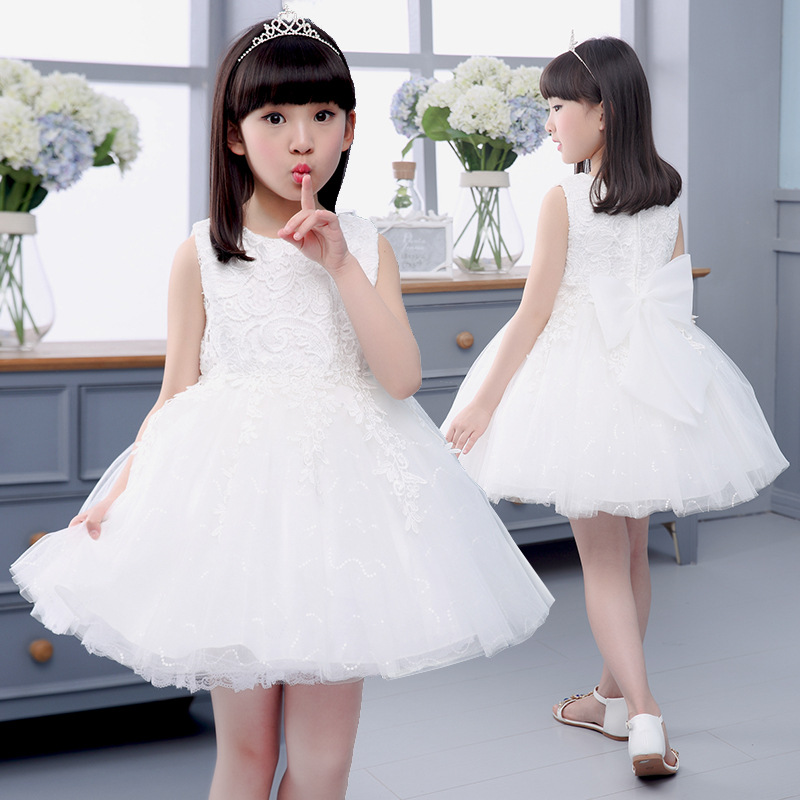 South Korea's New Spring Summer Wedding Princess Dress Costume Flower Dress Kids Clothing White Bow maternity clothing spring twinset lace fairy princess wedding one piece dress white embroidery dress full dress summer
